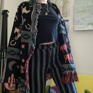 Long vintage 80s western sweater with fringe